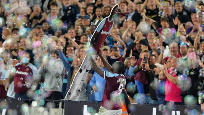 Michail Antonio Celebrates a Record Goal with a Cutout of Himself!